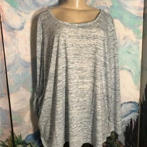 Woman Within Blue Space-Dye Step Hem Tunic Top